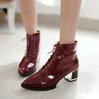 vogue ladies retro pointed toe pu leather strappy causal ankle boots chunky heel