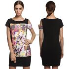 Womens Ladies Pencil Mini Dress Fashion Short Sleeve Floral Patchwork K0E1