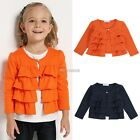 Kids Girls Long Sleeve Outerwear Jackets Coat Slim Fit Suits Blazers New K0E1