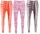 Womens Ladies Printed Leggings Floral Aztec Faded Contrast Trousers Pants Casual