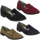 NEW WOMENS LADIES FAUX SUEDE SLIP ON FLATS OFFICE LOAFERS LOW HEEL SHOES SIZE