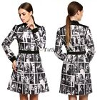 Fashion Stylish Casual Women Lapel Print Long Sleeve Mini Dress Sexy 2016 TXWD