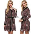 Women Long Sleeve Stripe Loose Casual Shift Dress with Belt TXWD