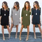 Women's Ladies Casual Loose Long Sleeve Blouse V-neck Asymmetrical Shirt Dress