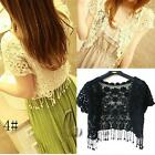 AU SELLER Bohemian Vintage Eyelet Crochet Lace Cardigan Shawl Crop Top t098-4