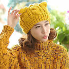 Girl  Devil Horns Winter Hat Cat Ear Knit Braided Knit Wool Women Cap