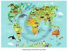 illustration World map of ANIMALS Blue Poster Print P2678