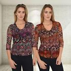 CARROLL RAUL Floral Lace Abstract Print Top in Purples or Reds | SALE