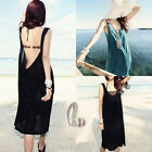 AU SELLER Womens Sexy Cotton Backless Beach Bikini Cover Up Dress Sundress sw011