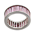 Baguette Pink CZ Sterling Silver Eternity Jewelry Women Wedding Engagement Ring