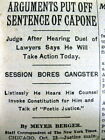 1931 NY Times newspaper SENTENCING AL CAPONE found GUILTY of FEDERAL TAX EVASION