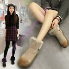 British Womens Fur Lining Ankle Boots Hot Faux Suede Preppy Style Snow Shoes