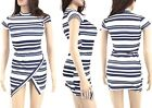 Womens Ladies Striped Monochrome Asymmetric Mini Dress Polo Neck Wrap Over Sexy