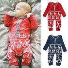 Xmas Deer Baby Boys Girls Sweater Warm Romper Jumpsuit Bodysuit Clothes Outfits