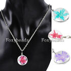 """Clear Round Resin Dyeing Dried Flower Pendant 20.5""""L Necklace Jewelry 3 Colors"""