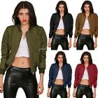 Stylish Women Ladies MA1Classic Padded Bomber Jacket Vintage Zip Up Biker Coat