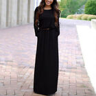 Women's Fashion Round Neck Pocket Dresses Long Sleeve Casual Tunic Maxi Drees
