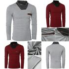 Fashion Men's Long Sleeve T-Shirt Slim Fit Casual Solid Color Basic Tee Shirts