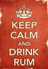 ACR33 Vintage Style Red Keep Calm Drink Rum Alcohol Funny Poster Print A2/A3/A4