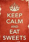 ACR40 Vintage Style Red Keep Calm Eat Sweets Food Funny Poster Print A2/A3/A4