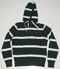 Polo Ralph Lauren Mens Green White Striped Pony Logo Fleece Hoodie Sweater New S