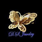 Elegant Clear Swarovski Crystal Golden Carved Hollow Lacy 3D Butterfly Hair Clip