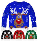 Kids Unisex Knitted Christmas Jumper New Boys Girls Rudolph Xmas Top 3-13 Years