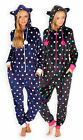 Ladies Polka Dot Hooded Onesie New Womens Full Length Spotted Fleece Onezee S-XL