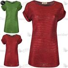 Ladies Stretchy Turn Up Sleeve Womens Round Neck Glitter Shiny Tee T Shirt Top
