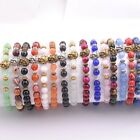 Wholesale 8MM Natural Gemstone Round Beads Lion Head Stretchy Bracelets Assorted image