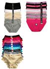 Plus Size LOT Plain Stripe High Waist Briefs COTTON Bikini Panty XL 2XL 3XL