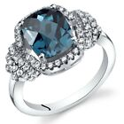 London Blue Topaz Anti Cushion Cut Ring Sterling Silver 2.25 Carats Sizes 5 to 9
