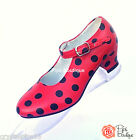 New Spanish Flamenco Dance Shoes Red & Black Polka Dot - Girls & Adult Sizes