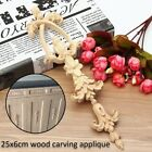 1/2/4x Wood Carved Corner Onlay Applique Unpainted Frame Decal Home Decor 25x6cm