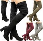 Ladies Womens Over The Knee Thigh High Block Heel Stretch Tie Lace Up Boots Size