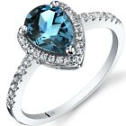 14K White Gold London Blue Topaz Open Halo Ring Pear Shape 1.50 Cts Sizes 5 to 9