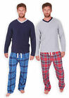 Mens Pyjama Set New Long Sleeved V-Neck Checked Winter PJ Set Navy Red S M L XL