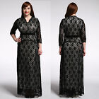 Plus size XL-7XL lace women's dress Bridesmaid gown evening party long dresses