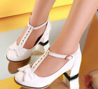 Womens Lolita T-Bars Bowknot Chunky Heel Strap Mary Janes Cute Court Dress Shoes