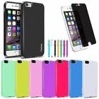 For iPhone 7 / 7 Plus Rubber Jelly TPU Back Case Cover + Privacy Film + Stylus