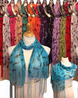 RAINBOW OF COLORS WOMANS POLYESTER LONG SCARF WITH FRINGE, STOLE, WRAP