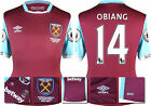 16 / 17 - UMBRO WEST HAM UNITED HOME SHIRT SS + PATCHES  OBIANG 14 = KIDS SIZE
