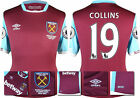 16 / 17 - UMBRO WEST HAM UNITED HOME SHIRT SS + PATCHES  COLLINS 19 = KIDS SIZE