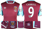 16 / 17 - UMBRO WEST HAM UNITED HOME SHIRT SS + PATCHES  CARROLL 9 = KIDS SIZE