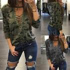 Women Choker Plunge V Neck Camouflage Printed Lace-up Blouse Casual Tops T Shirt