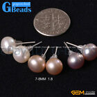 Fashion Jewelry Genuine Freshwater Pearl Stud Earrings Free Shipping 12 Pairs
