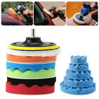 New 7Pc 3/4/5/6/7'' Car Polisher Polishing Waxing Buffing Woolen&Sponge Pads Kit