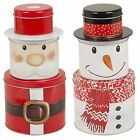 Christmas Themed Biscuit Cookie Tin Jar Metal Dry Food Tea Coffee Kitchen Gift