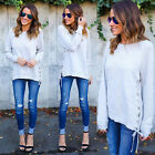 Fashion Women Casual Bandage Long Sleeve Hoodie Jumper Pullover Tops Shirt