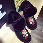 Sweet Womens Warm Embroider Flower Fur Lining Ankle Boots Fold Faux Suede Shoes